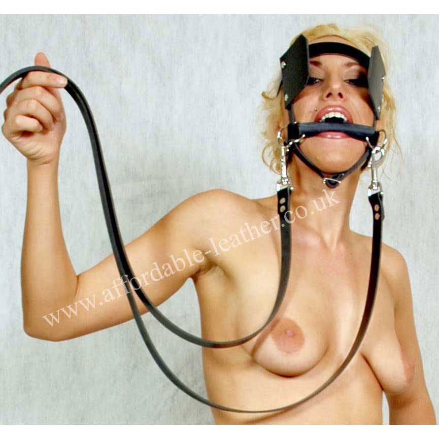 Latex Rubber Pony Play Bit Gag with Reins
