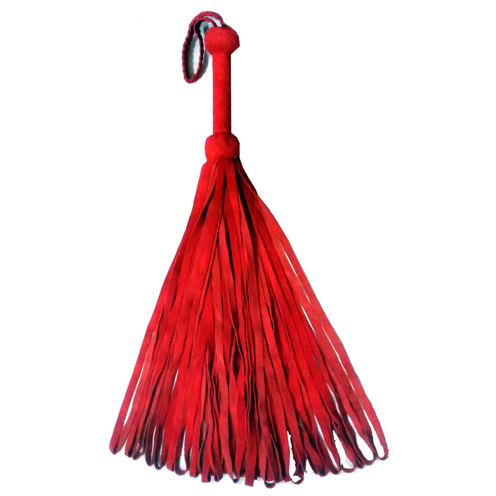 FLG 26 - Super Heavy Suede Loop Tail Flogger - Red